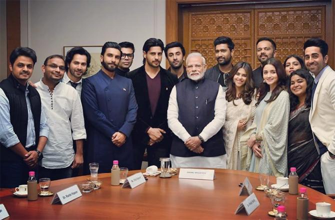 Narendra Modi, Karan Johar, Ranveer Singh, Ranbir Kapoor, Alia Bhatt, Varun Dhawan, Rohit Shetty, Rajkummar Rao, Vicky Kaushal, Ayushmann Khurrana, Bhumi Pednekar, Sidharth Malhotra, Ajay Devgn, Akshay Kumar, Karan Johar, Sidharth Roy Kapur, Ritesh Sidhwani, Prime Minister, Bollywood stars, Bollywood celebrities, Bollywood news, Bollywood actors, Bollywood actress, Entertainment news