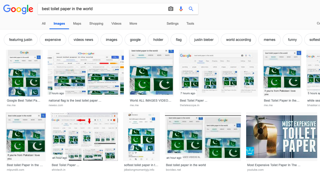 Google Shows Pakistan Flag As Best China Made Toilet