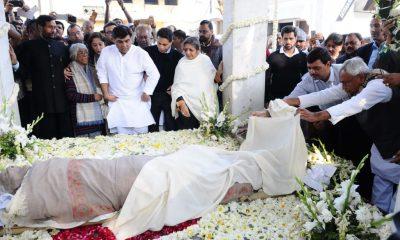 George Fernandes, Former Union Minister, George Fernandes cremated, Manmohan Singh, LK Advani, Rajnath Singh, Ravi Shankar Prasad, Ram Vilas Paswan, Suresh Prabhu, Nitish Kumar, Sharad Pawar, Sharad Yadav, National news