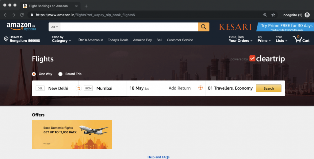 Amazon, Clear trip, Amazon Pay page, Amazon mobile app, Amazon website, Flight booking, Domestic flights, Shopping, Money transfers, Bill payments, Mobile recharges, Online booking company, Business news